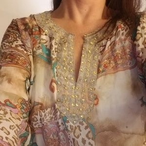 Women's long sleeved multi colored blouse